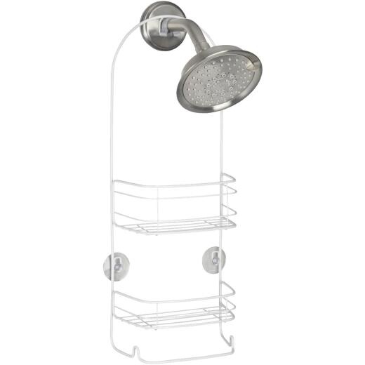 iDesign Rondo 2-Basket White Shower Caddy